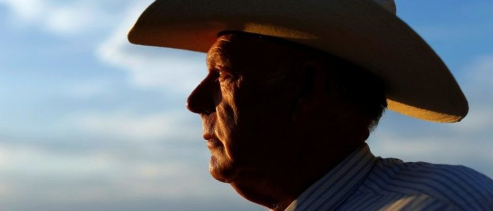 FILE PHOTO: Rancher Bundy looks out over his ranch in Bunkerville, Nevada