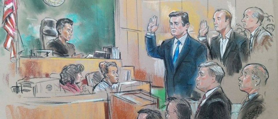 Former Trump 2016 campaign chairman Manafort and former campaign official, Gates appear in front of U.S. Magistrate Robinson in the U.S. Federal Court in Washington
