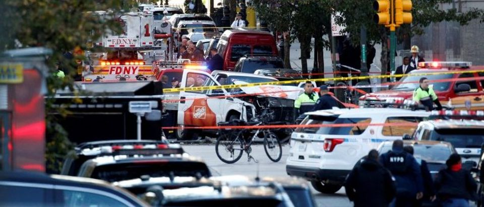 A Home Depot truck which struck down multiple people on a bike path, killing several and injuring numerous others, is seen as New York city first responders are at the crime scene in lower Manhattan in New York