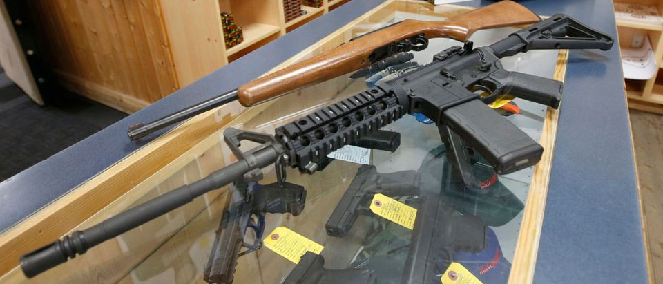 SPRINGVILLE, UT - JUNE 17: This picture of an AR-15 (B) and a Ruger 10-22 (T), both semi-automatic guns at Action Target on June 17, 2016 in Springville, Utah. Semi-automatics are in the news again after the nightclub shooting in Orlando F;lord last week. (Photo by George Frey/Getty Images)