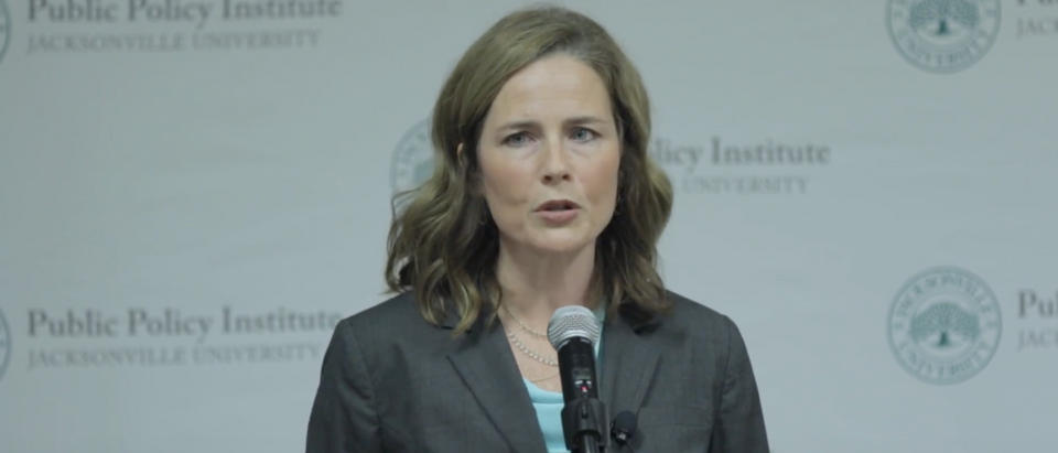 Amy Coney Barrett speaks at Jacksonville University in 2016. (YouTube screenshot/Jacksonville University)