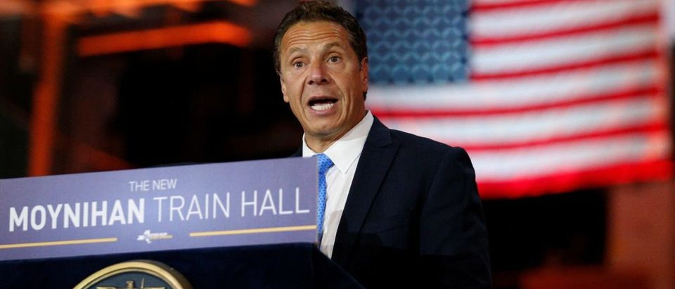New York Governor Andrew Cuomo speaks during an announcement at The Moynihan Train Hall in New York City