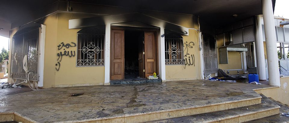 A picture shows a burnt building at the US consulate compound in the eastern Libyan city of Benghazi on September 13, 2012 following an attack late on September 11 in which the US ambassador to Libya and three other US nationals were killed. Libya said it has made arrests and opened a probe into the attack, amid speculation that Al-Qaeda rather than a frenzied mob was to blame. Getty Images/AFP PHOTO/GIANLUIGI GUERCIA