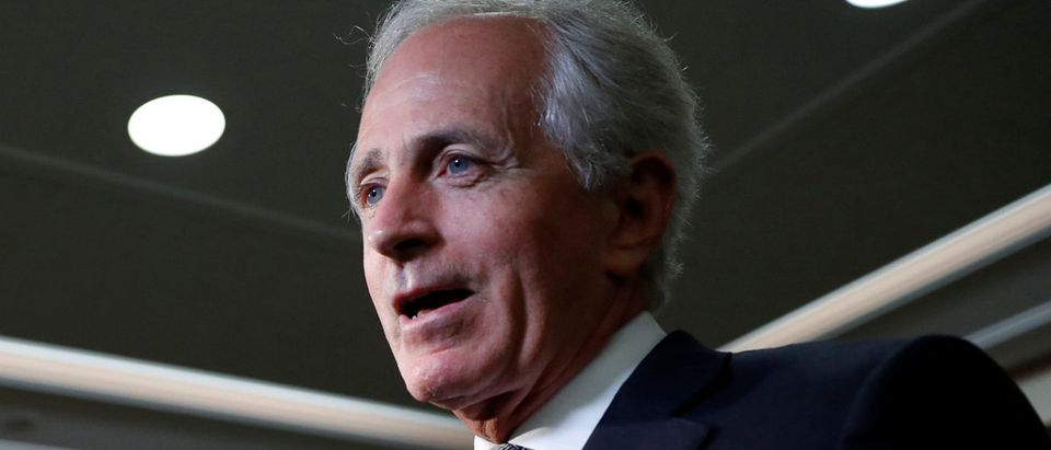 Sen. Bob Corker (R-TN) speaks with reporters after announcing his retirement at the conclusion of his term on Capitol Hill in Washington