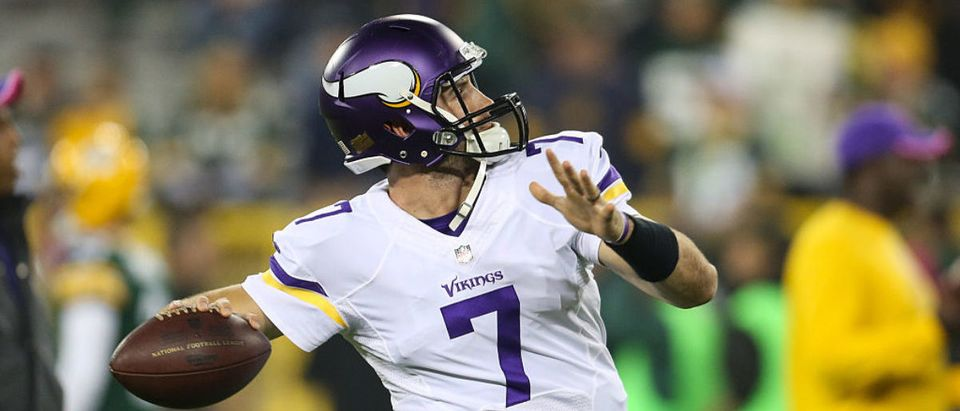 Quarterback Christian Ponder #7 of the Minnesota Vikings warms up prior to the NFL game against the Green Bay Packers on October 02, 2014 at Lambeau Field in Green Bay, Wisconsin. (Photo by John Konstantaras/Getty Images)