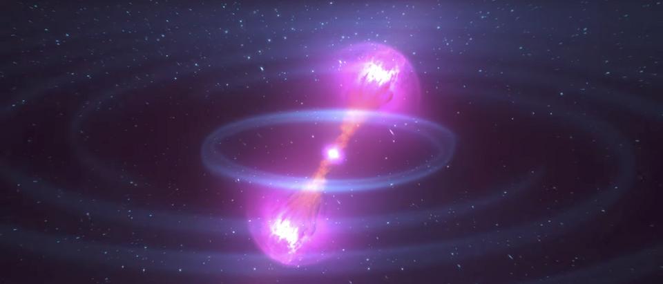 Animation of kilonova created by colliding neutron stars (Image: NASA Goddard/YouTube screengrab)