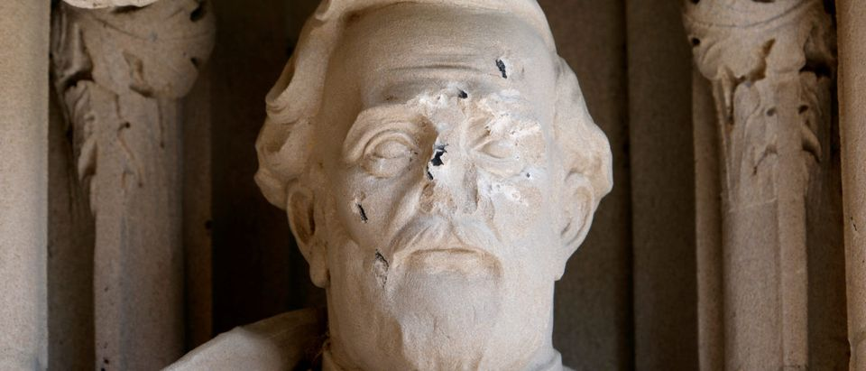 Damage is seen to the face of a statue of Confederate commander General Robert E. Lee at Duke University's Duke Chapel in Durham