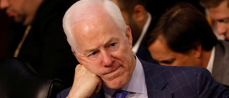 Senator John Cornyn (R-TX) looks on during a Judiciary Committee hearing into alleged Russian meddling in the 2016 election on Capitol Hill in Washington