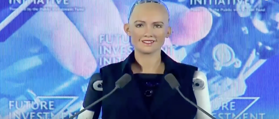Saudi Arabia awarded a robot citizenship on Wednesday in a historic and futuristic first for the world. (Youtube screenshot/CNBC)