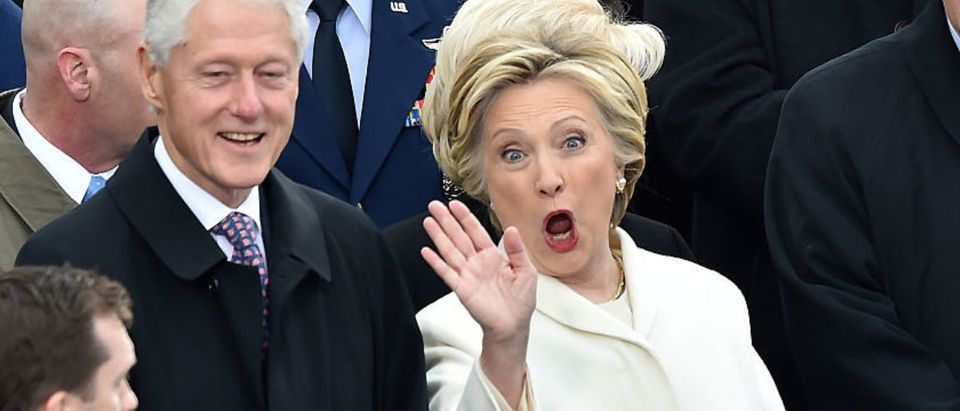 Former President Bill Clinton and his wife Hillary Clinton attend the inauguration of President-elect Donald J. Trump on Jan. 20, 2017. (Photo: PAUL J. RICHARDS/AFP/Getty Images)