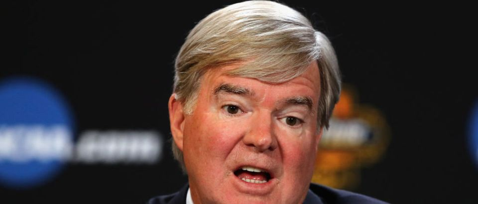 NCAA President Mark Emmert speaking with the media during a press conference for the 2017 NCAA Men's Basketball Final Four at University of Phoenix Stadium in March 2017 in Glendale, Arizona. (Photo Credit/Getty Images)