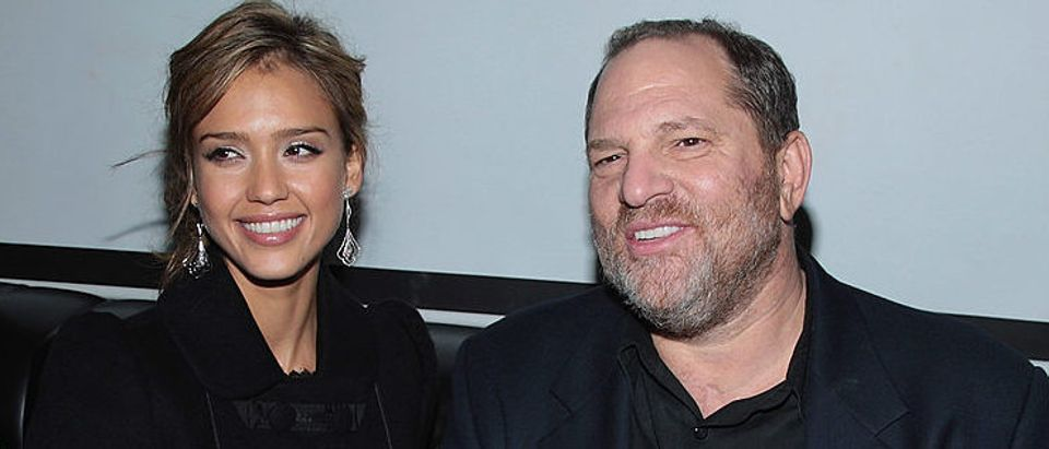 """Jessica Alba and Harvey Weinstein attend the after-party for the premiere of """"Awake"""" at Home in November 2007 in New York City. (Photo by Stephen Lovekin/Getty Images)"""