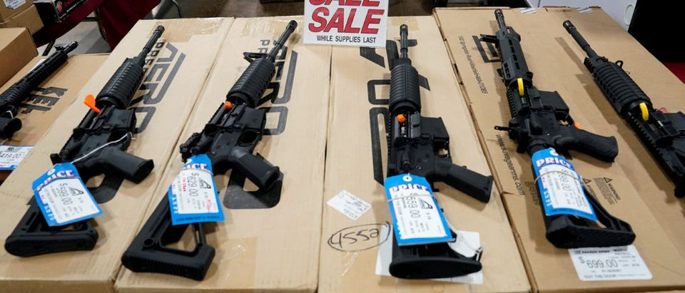 AR-15 rifles are displayed for sale at the Guntoberfest gun show in Oaks, Pennsylvania