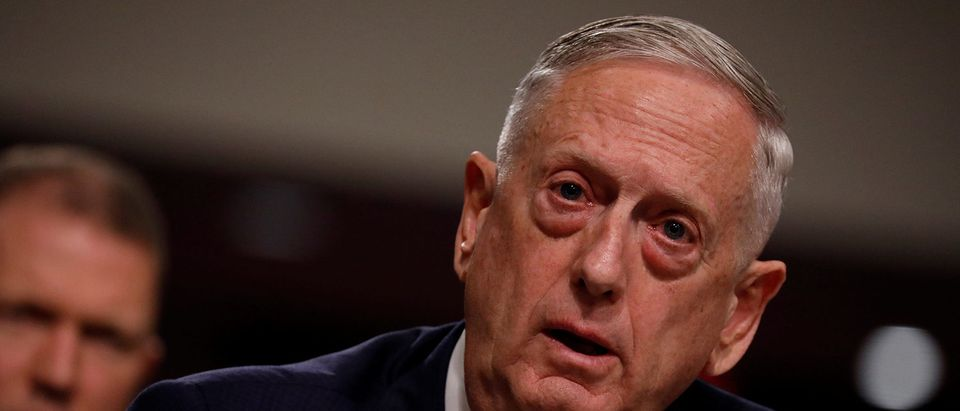 """U.S. Secretary of Defense James Mattis testifies before a Senate Armed Services Committee hearing on the """"Political and Security Situation in Afghanistan"""" on Capitol Hill in Washington"""
