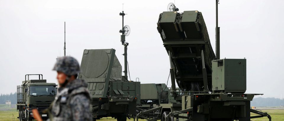 JSDF soldier takes part in a drill to mobilise their PAC-3 missile unit in response to recent missile launch by North Korea, at U.S. Air Force Yokota Air Base in Fussa