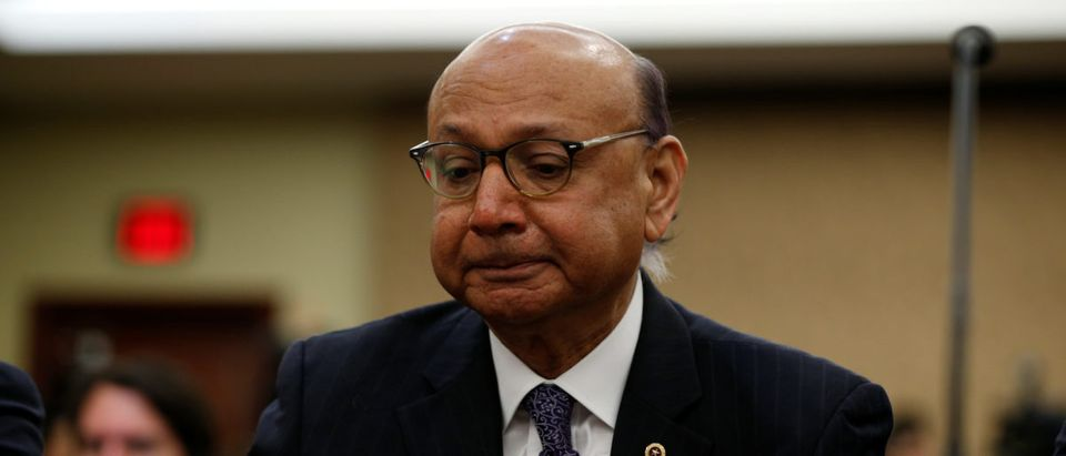 Khizr Khan takes part in a discussion on the Muslim and refugee ban on Capitol Hill in Washington