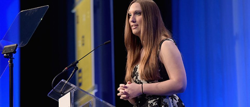 LOS ANGELES, CA - MARCH 14: Activist Sarah McBride speaks onstage during the Human Rights Campaign Los Angeles Gala 2015 at JW Marriott Los Angeles at L.A. LIVE on March 14, 2015 in Los Angeles, California. (Photo by Jason Kempin/Getty Images for Human Rights Campaign)