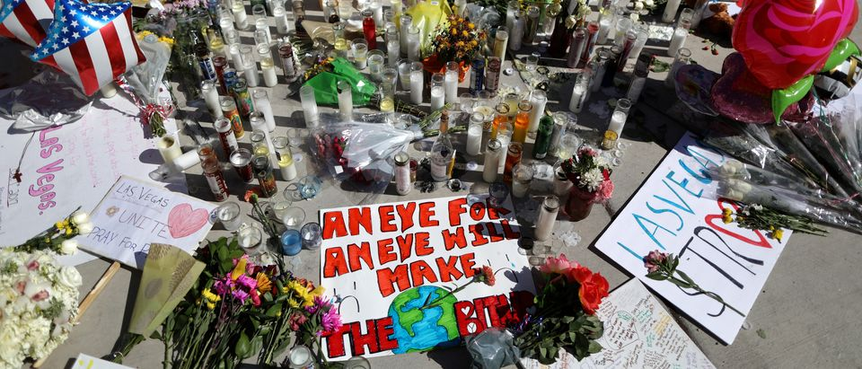 A makeshift memorial is seen on the Las Vegas Strip for victims of the Route 91 music festival mass shooting next to the Mandalay Bay Resort and Casino in Las Vegas (Reuters)