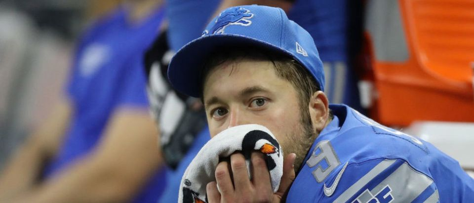 Quarterback Matthew Stafford #9 of the Detroit Lions sits on the bench during the final minutes against the Pittsburgh Steelers during the fourth quarter at Ford Field on October 29, 2017 in Detroit. Pittsburgh defeated Detroit 20- 15. (Photo by Leon Halip/Getty Images)