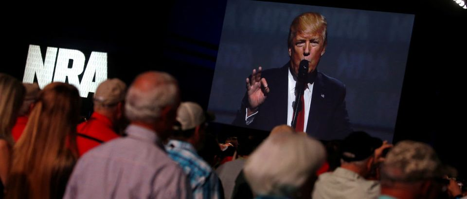 U.S. President Donald Trump delivers remarks at the National Rifle Association (NRA) Leadership Forum at the Georgia World Congress Center in Atlanta, Georgia, U.S. April 28, 2017. REUTERS/Jonathan Ernst