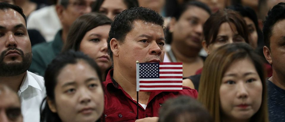 Immigrants attend a naturalization ceremony to become new U.S. citizens in Los Angeles