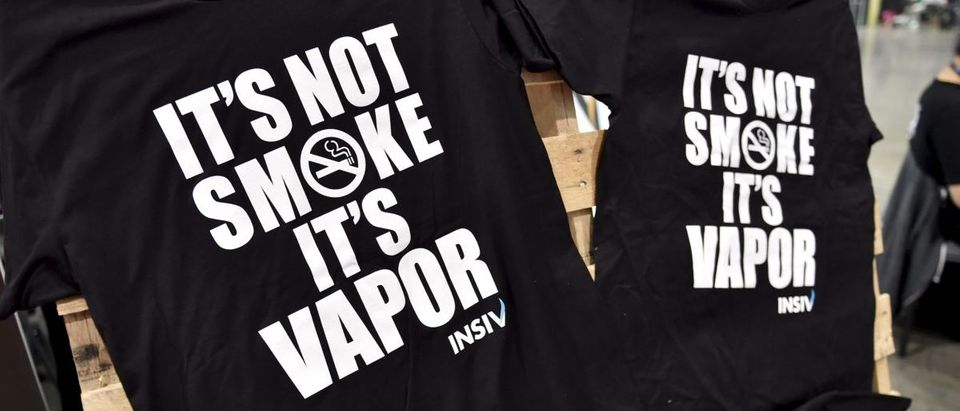 T-shirts on display at the Vape Summit 3 in Las Vegas, Nevada