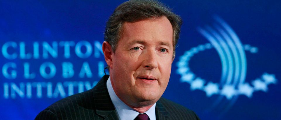 "Television host Piers Morgan hosts a conversation titled ""Communication by Design: Inspirational Change"" during the final day of the Clinton Global Initiative 2012 (CGI) in New York September 25, 2012. The CGI was created by former U.S. President Bill Clinton in 2005 to gather global leaders to discuss solutions to the world's problems. REUTERS/Andrew Burton"