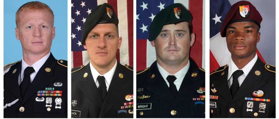 A combination photo of U.S. Army Special Forces Sergeant Jeremiah Johnson (L to R), U.S. Special Forces Sgt. Bryan Black, U.S. Special Forces Sgt. Dustin Wright and U.S. Special Forces Sgt. La David Johnson killed in Niger, West Africa on October 4, 2017, in these handout photos released October 18, 2017. (Photo: Courtesy U.S. Army Special Operations Command/Handout via REUTERS)