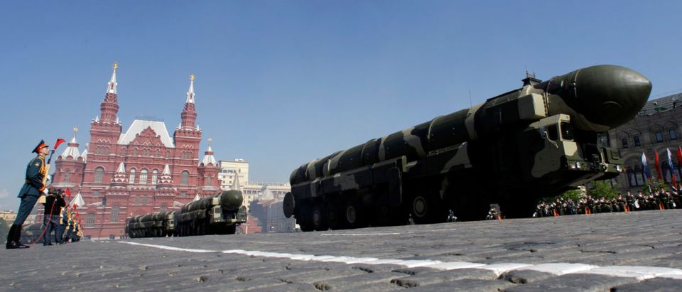 Topol-M missile launchers are seen in Red Square in Moscow during the Victory Day parade