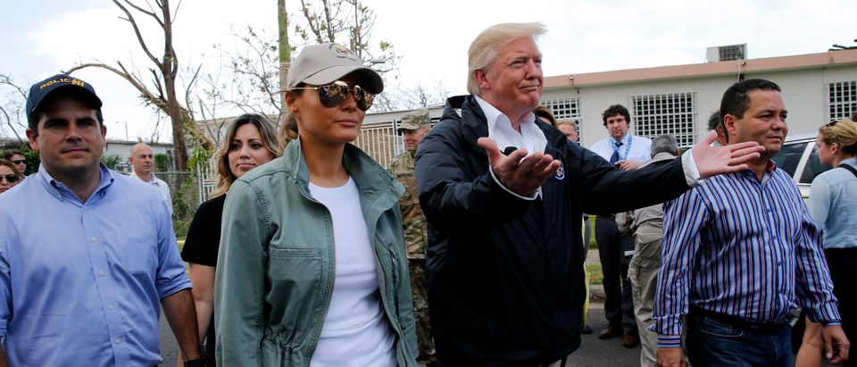 President Trump tours area damaged by Hurricane Maria in Guaynabo, Puerto Rico