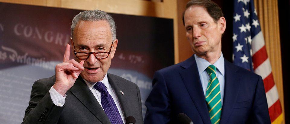 Schumer and Wyden speak about the Republican tax plan in Washington