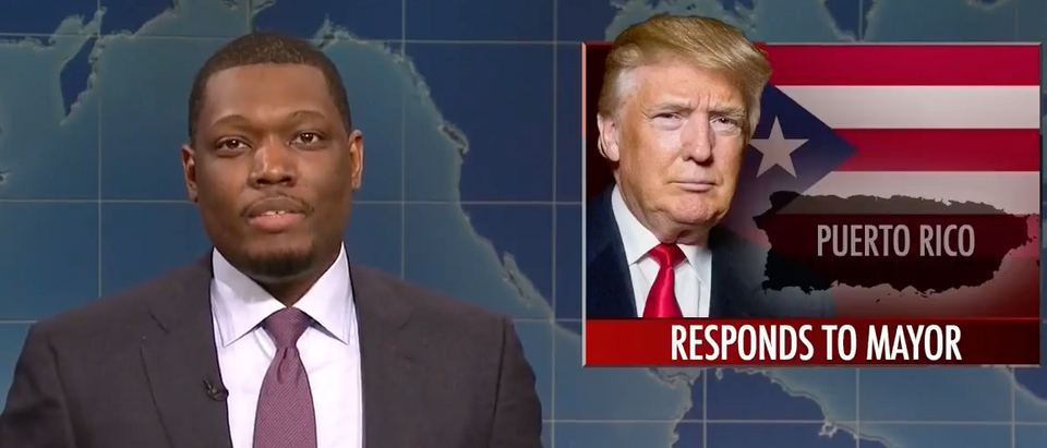 Saturday Night Live host Michael Che discussed President Trump in Sept. 20, 2017 episode. (Youtube screen grab)