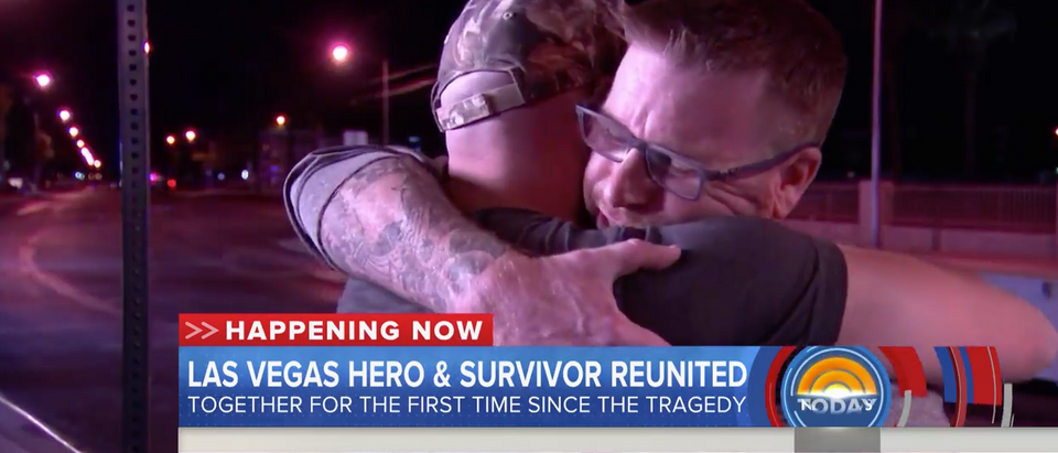 A survivor of the horrific mass shooting that took place Sunday in Las Vegas shared a heartfelt on-camera reunion Monday night with the man who saved his life. (screenshot NBC News Today Show)