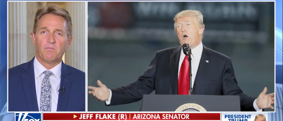 Sen. Jeff Flake Says He Has No Regrets Taking On Trump On America's Newsroom 10-17-17 (Screenshot-Fox News)