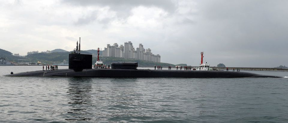 The Ohio-class guided-missile submarine USS Michigan arrives for a regularly scheduled port visit while conducting routine patrols throughout the Western Pacific in Busan South Korea