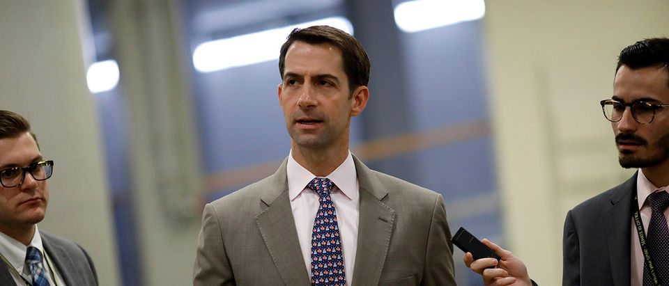 Sen. Tom Cotton (R-AR) speaks with reporters ahead of the party luncheons on Capitol Hill in Washington