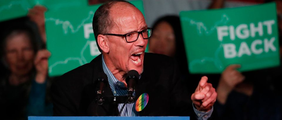 DNC Chairman Tom Perez, speaks to a crowd of supporters at a Democratic rally