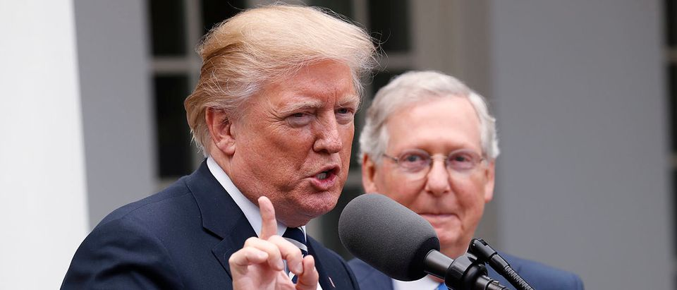 U.S. President Trump speaks to the media with Senate Majority Leader McConnell at his side in Rose Garden at the White House in Washington