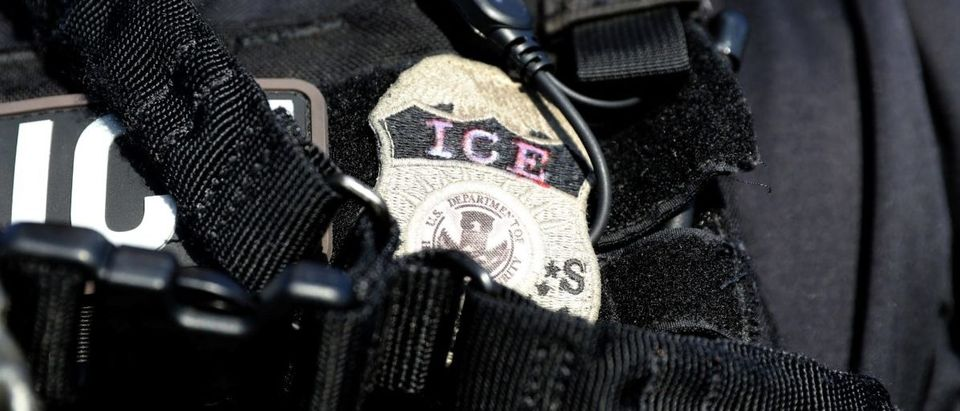 The badge of a U.S. Immigration and Customs Enforcement's (ICE) Fugitive Operations team is seen in Santa Ana, California, U.S., May 11, 2017. REUTERS/Lucy Nicholson