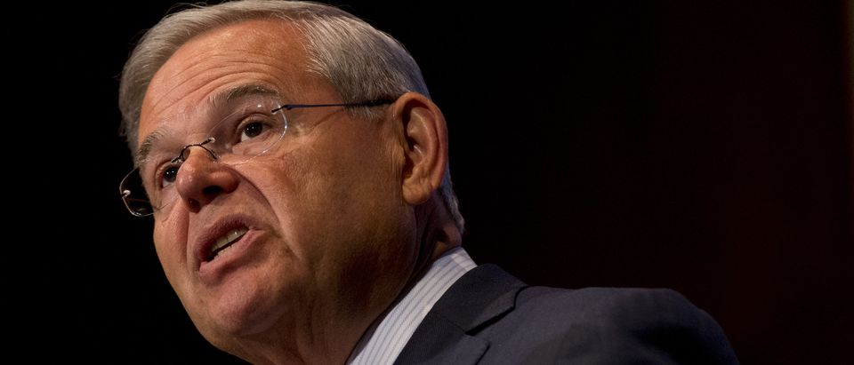 U.S. Senator Bob Menendez speaks at Seton Hall University in South Orange, New Jersey