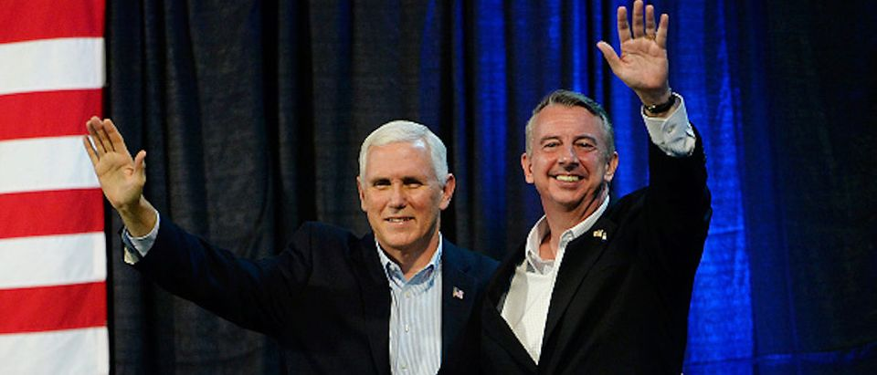 ABINGDON, VA - OCTOBER 14: U.S. Vice President Mike Pence, left, and gubernatorial candidate Ed Gillespie, R-VA, wave during a campaign rally at the Washington County Fairgrounds on October 14, 2017 in Abingdon, Virginia. Virginia voters head to the polls on Nov. 7. (Photo by Sara D. Davis/Getty Images)