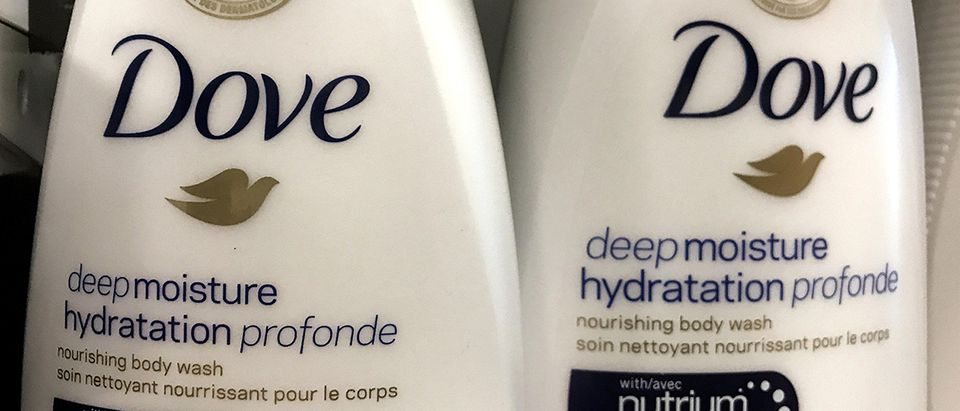 Two bottles of Dove's Deep Moisture body wash are displayed in Toronto, Ontario, Canada, October 8, 2017. REUTERS/Chris Helgren