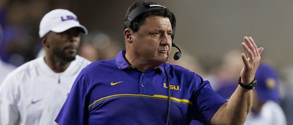 Head coach Ed Orgeron of the LSU Tigers motions from the sidelines against the Texas A&M Aggies at Kyle Field on November 24, 2016 in College Station, Texas. (Photo by Bob Levey/Getty Images)