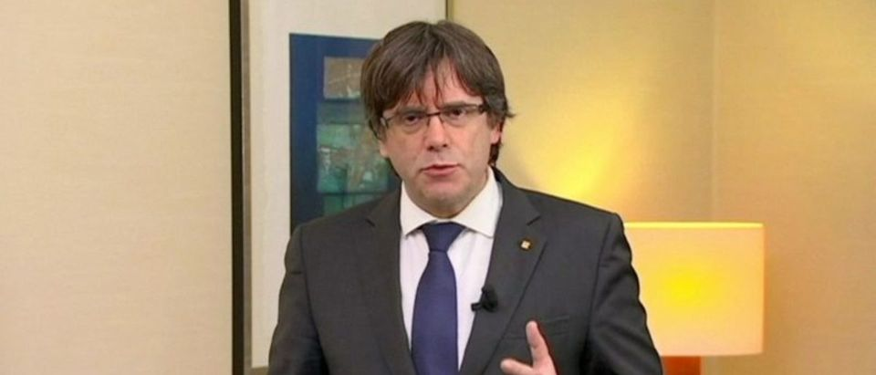 Sacked Catalan President Carles Puigdemont makes a statement in Brussels