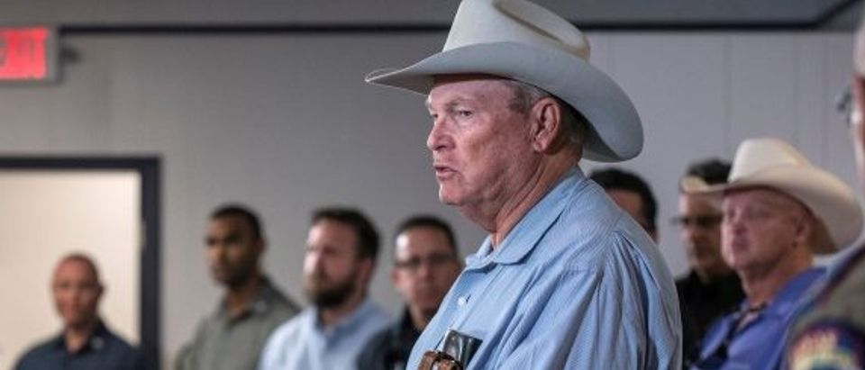 Wilson County Sheriff Joe Tackett gives an update during a news conference at the Stockdale Community Center following a shooting at the First Baptist Church in Sutherland Springs