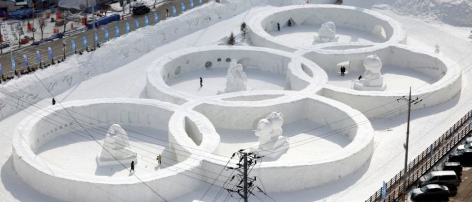 FILE PHOTO: An ice sculpture of the Olympic rings is seen during the Pyeongchang Winter Festival in Pyeongchang