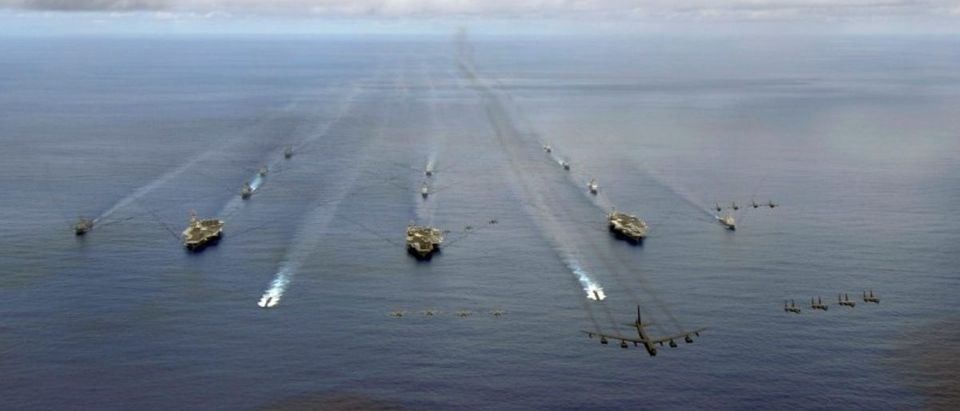 The USS Nimitz, USS Kitty Hawk and USS John C. Stennis Carrier Strike Groups transit in formation during a joint photo exercise during exercise Valiant Shield 2007 in the Pacific Ocean in this August 14, 2007 handout photo