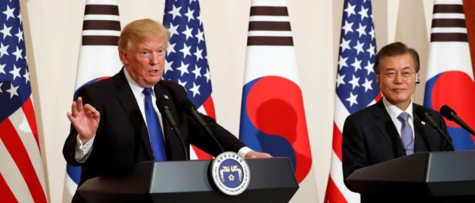 U.S. President Donald Trump and South Korea's President Moon Jae-in hold a news conference at South Korea's presidential Blue House in Seoul, South Korea, November 7, 2017. REUTERS/Jonathan Ernst