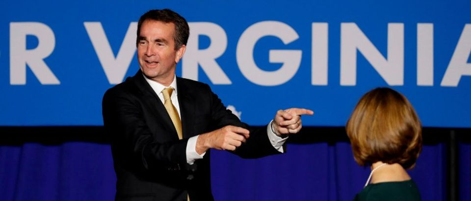 Democratic candidate for governor Northam speaks after his victory in Fairfax
