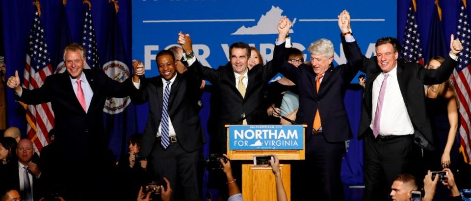 FILE PHOTO: Virginia Governor Elect Ralph Northam celebrates his election night rally in Fairfax